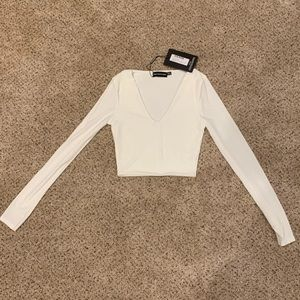 Misguided white crop top